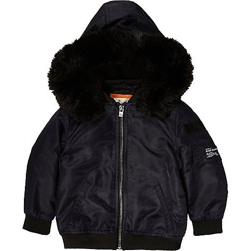 Mini boys navy hooded bomber jacket - baby boys coats / jackets - mini boys…