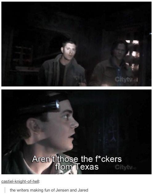 The writers making fun of Jared and Jensen.