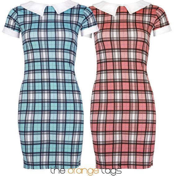 NEW LADIES TARTAN CHECK PRINT WOMENS VINTAGE PETER PAN COLLAR DRESS in Clothes, Shoes & Accessories, Women's Clothing, Dresses | eBay