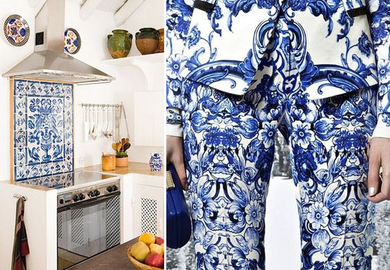 Os azulejos portugueses estão com tudo, na moda e no décor. Veja mais: http://www.casadevalentina.com.br/blog/detalhes/moda-+-decor--porcelain-print--3009  decor #decoracao #interior #design #casa #home #house #idea #ideia #detalhes #details #style #estilo #casadevalentina #moda #fashion #porcelain #porcelana #kitchen #cozinha