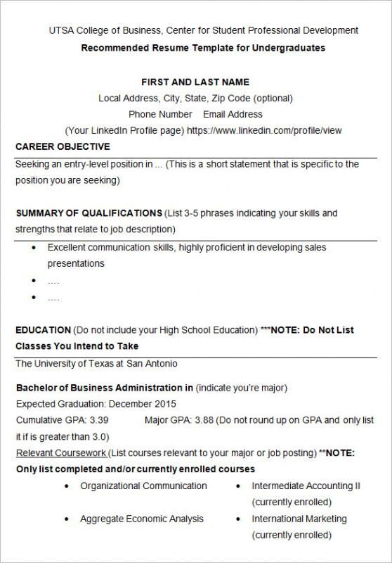 Resume Template For College Student College Application Resume Sample Resume Templates College Resume Template