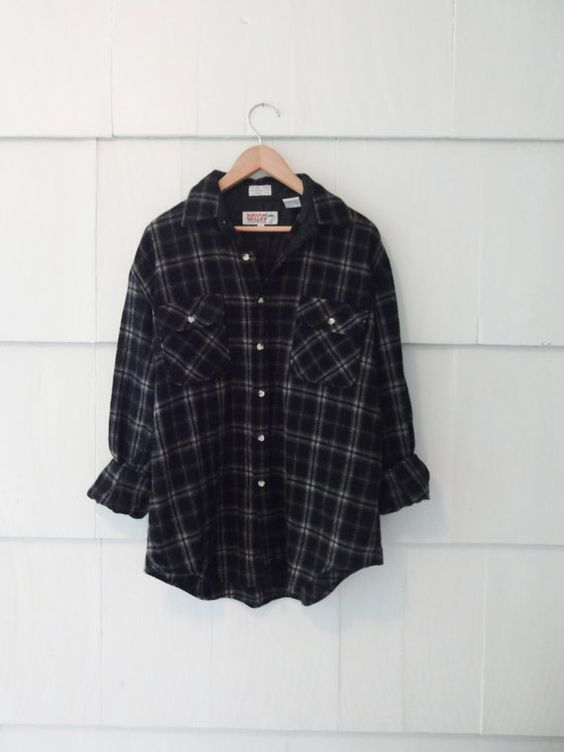 Vintage Oversized Flannel Shirt- Black and Grey