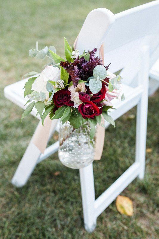 Fall Wedding Ceremony Aisle Marker Red Burgundy Flowers With Greenery Amelia Lawren Fall Wedding Ceremony Wedding Flower Arrangements Fall Wedding Flowers