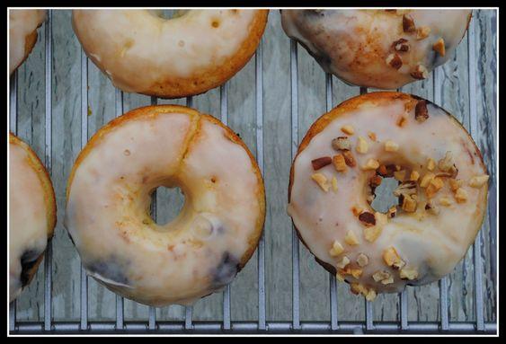 Orange glazed blueberry doughnuts