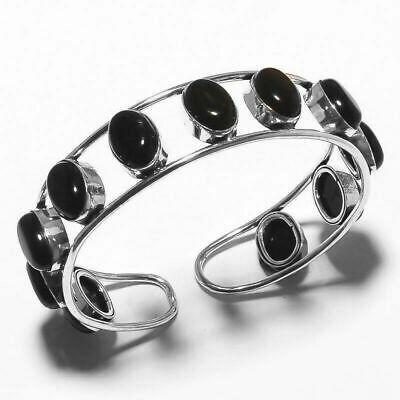 925 Sterling Silver Overlay Black Onyx Gemstone Bangle Cuff Bracelet Jewelry