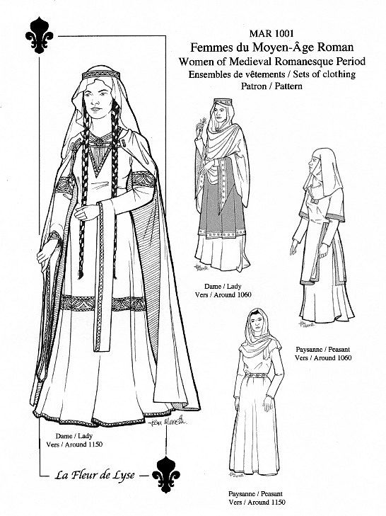 Costumes middle ages fashion history 14th 15th century fashion - Mar1001 Romanesque Period Women S Sets 1060 Or 1150