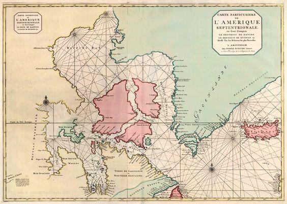 Partie Occidentale de l'Amerique Septentrionale, ou sont Compris la Baye de Baffins, la Baye de Hudson, &c. / Carte Particuliere de l'Amerique Septentrionale, ou sont compris le destroit de Davids, le destroit de Hudson, &c. - Covens & Mortier, c. 1720