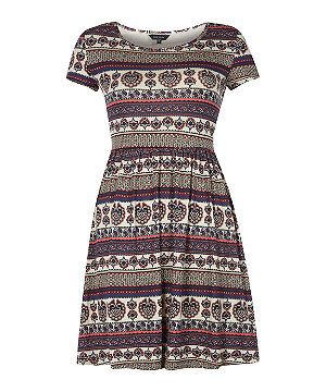 White Pattern (White) Cream and Brown Tile Print Skater Dress  | 300421819 | New Look