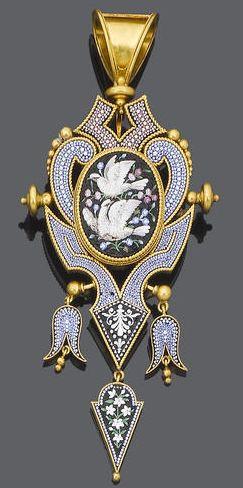 A 19th century micro mosaic pendant, circa 1870