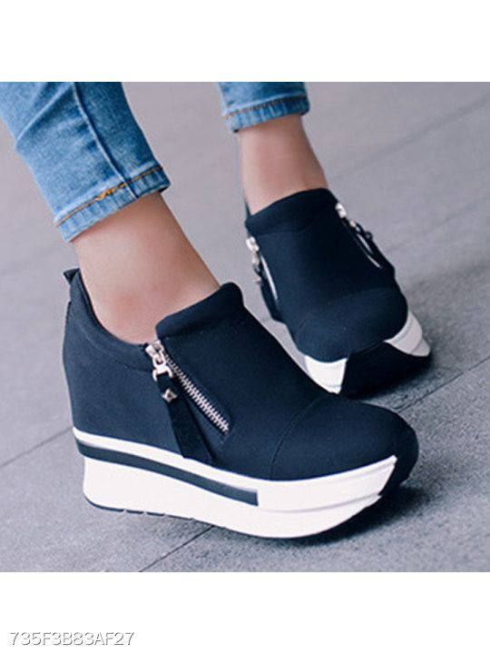 brand new ca0be f7845 Plain High Heeled Elastic Round Toe Casual Sport Sneakers ...