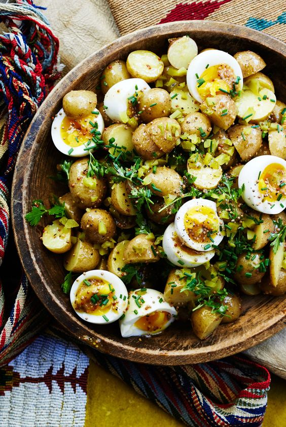 Egg salad and potato salad: we like how the still-soft yolks dress the salad, but you can cook the eggs a minute or two longer if you like them more set.