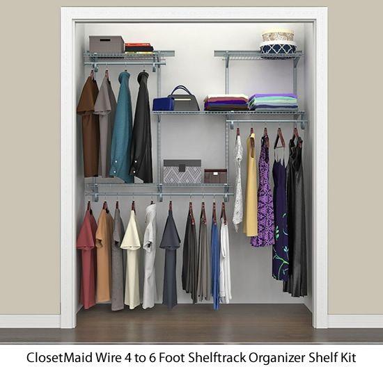 Closetmaid Wire 4 To 6 Foot Shelftrack Organizer Shelf Kits Size Height 84 X Width 72 X Depth 13 78808 Satin Ch Wire Shelving Closetmaid Closet Kits