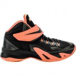 Nike 653645-001  Zoom Soldier 8 Boys Grade School Kids Basketball Shoes (Black/Bright Mango-Peach Cream-Dark Grey) at Shoe Palace