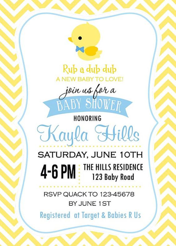 tropical printable rubber ducky baby shower invitations and, Baby shower invitations