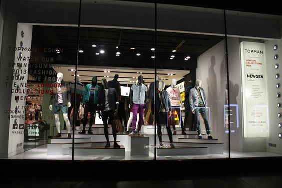 Topshop & Topman windows at Oxford Street, London visual merchandising
