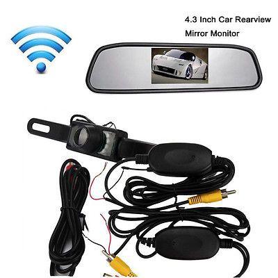 "4.3""LCD Car Rear View Mirror Monitor Wireless Night Vision Backup Reverse Camera"