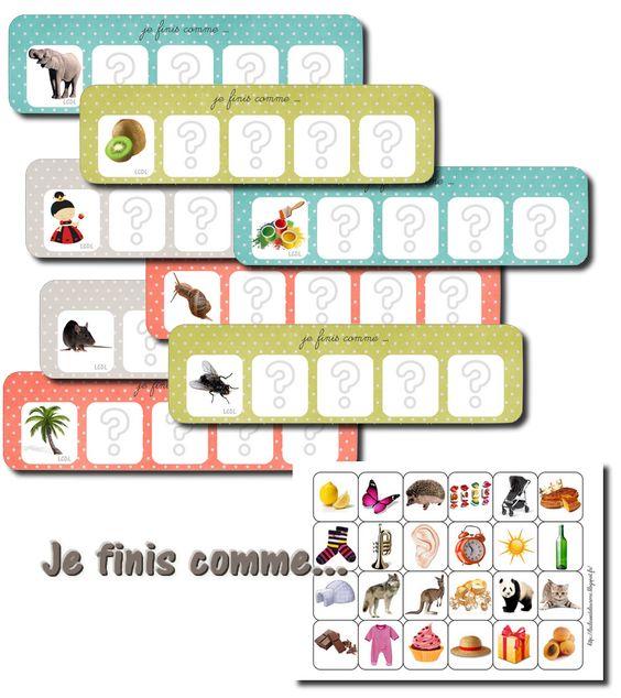 Voici un nouveau jeu de phonologie de 18 planches. Les enfants doivent retrouver les 4 cartes qui finissent comme le mot modèle, soit librement, soit sous forme de loto.Ce jeu est + complexe que le je
