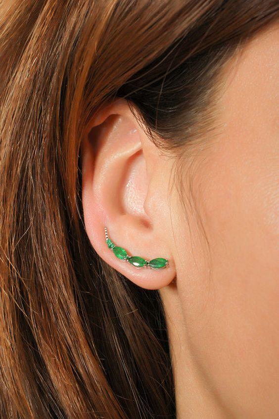 14k GOLD Ear CUFF one hole , Emerald curved ear CUFF earrings, marquise emerald ear cuff, jewelry earrings