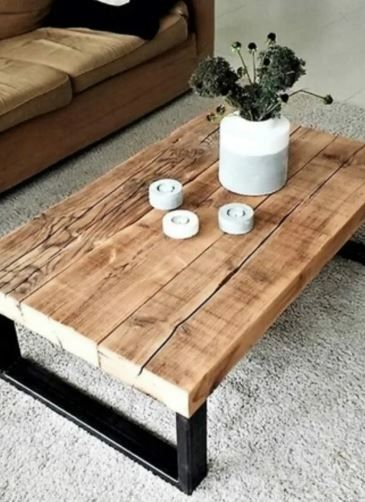 Wooden Natural Decorative Wheeled Coffee Table Decorative Etsy In 2020 Diy Furniture Table Diy Wood Projects Furniture Diy Coffee Table