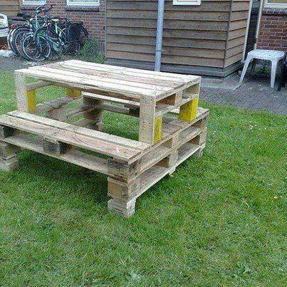Table de jardin en palette diy fabriquons renovons pinterest pique niques comment for Fabrication de table de jardin en palette