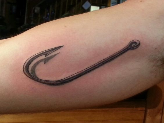 3d Fishing Hook Tattoo In The Skin Pinterest Fishing