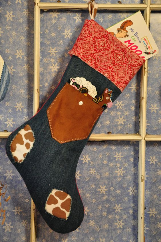 Little Cowpoke Handmade Christmas Stocking, Western Demin Christmas Stocking on Etsy, $25.00