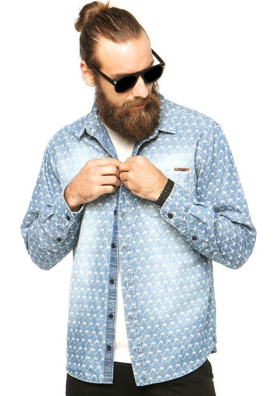 Camisa Jeans Sommer Estampa Azul - Marca Sommer