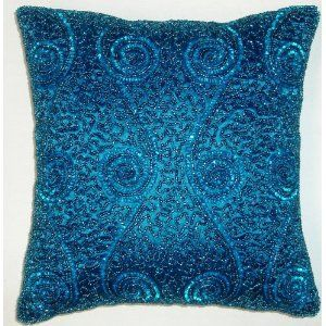 Black Beaded Throw Pillow : Swirl & Scallop Hand Beaded Decorative Pillow - 12
