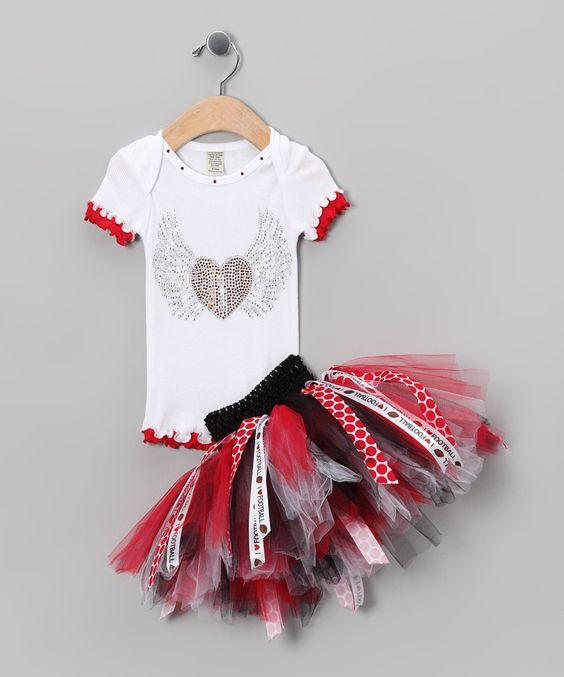 Brookie Jos Red & Black Football Tee & Tutu - Infant & Girls