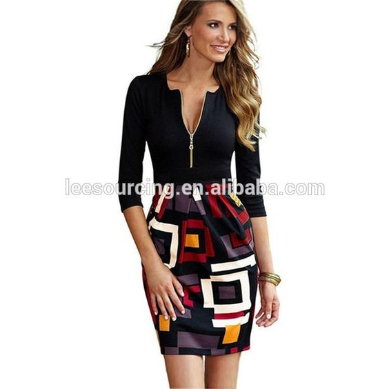 2016 summer boutique elegant women casual long sleeve v neck front zipper geometric print dress bodycon pencil dress