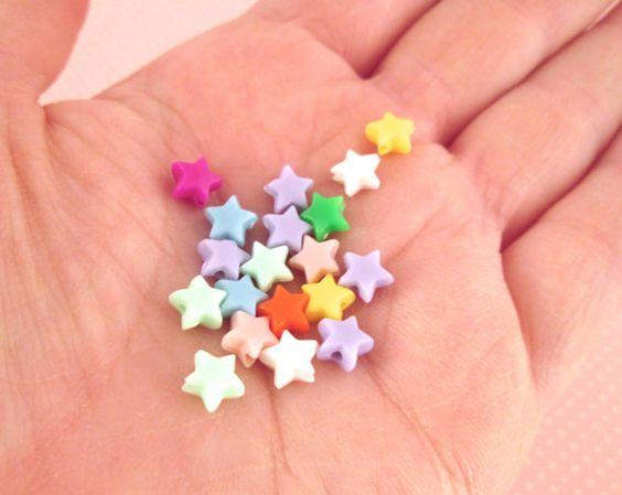 6mm Multicolor Star Beads  Cute Kawaii by HappyKawaiiSupplies