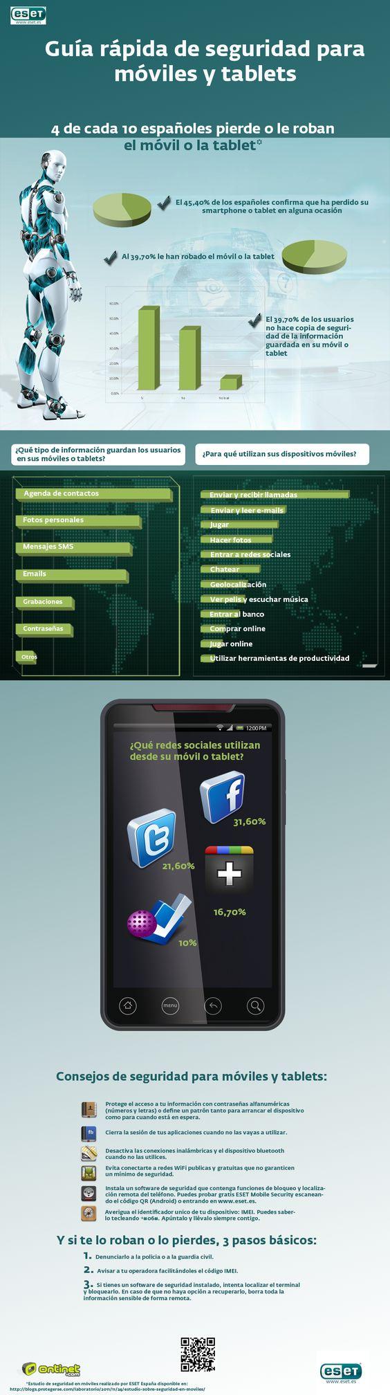 Infografía sobre consejos de seguridad en smartphones y tablets