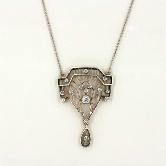 Art Deco 1920's diamond pendant. This would be a gorgeous necklace for the bride. Or me.
