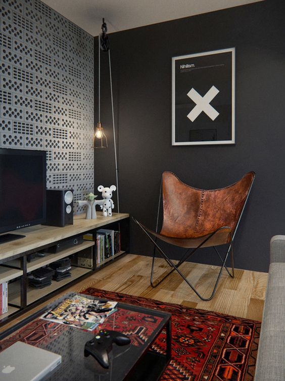 break 4 D E S I G N: industrial style and pop art in this loft, leather chair