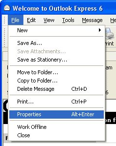 Open Outlook Express menu to see email headers