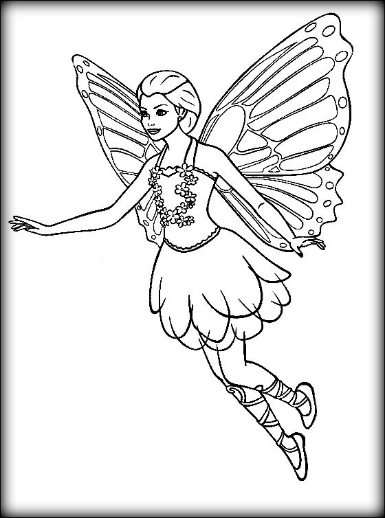 Barbie Mariposa coloring pages on Coloring-Book.info | 754x560
