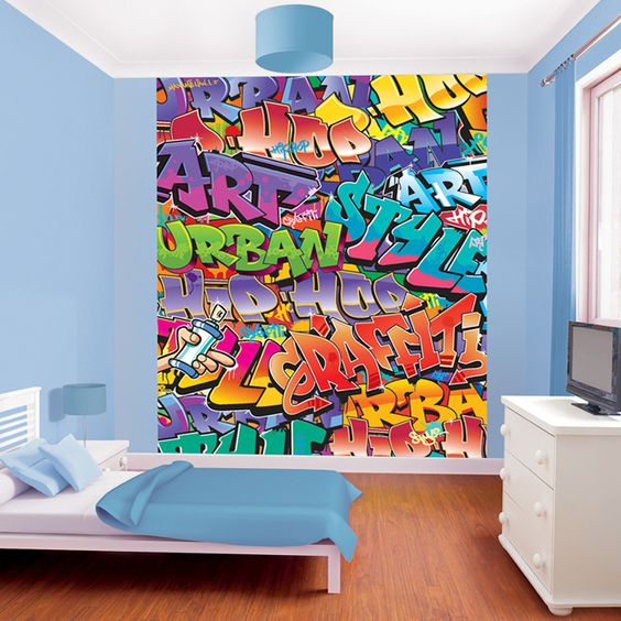 Bedroom Murals Uk: Walltastic Graffiti Wallpaper Mural