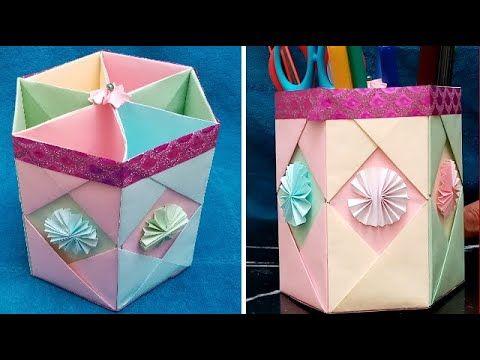 أشغال يدوية للأطفال صنع حاملة أقلام بالورق الملون Paper Pen Holder Gift Wrapping Gifts