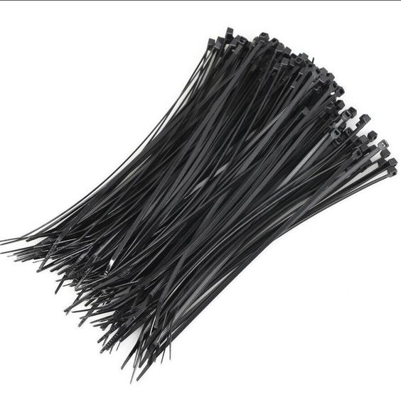 100PCS Cable Tie Black Plastic Zip Fasten Wraps Wire Tidy 200MM X 2.5MM #Unbranded
