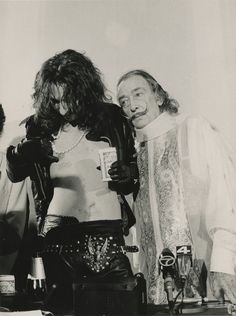 Alice Cooper, Salvador Dali and a can of Budweiser (circa 1973 [Bernard…
