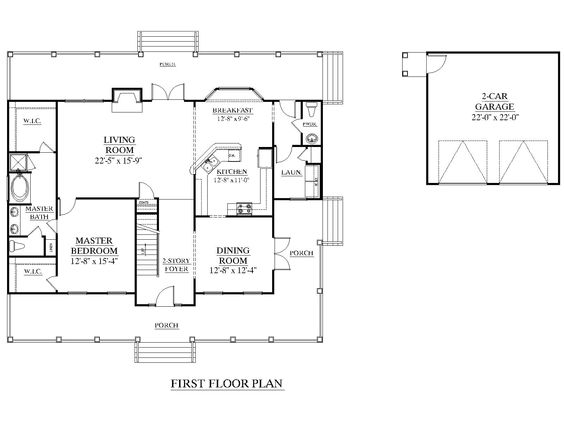 House Plan 2581-A The APPLEWOOD A 1st floor plan