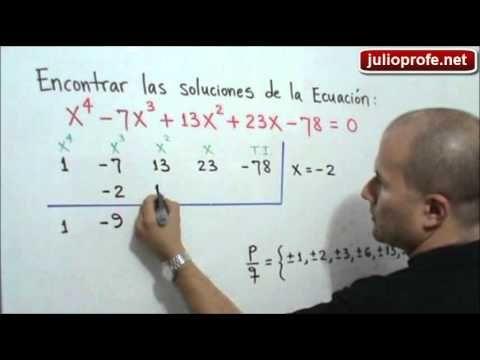 Solución de una Ecuación de cuarto grado: Julio Rios explica cómo solucionar una ecuación polinómica de cuarto grado.
