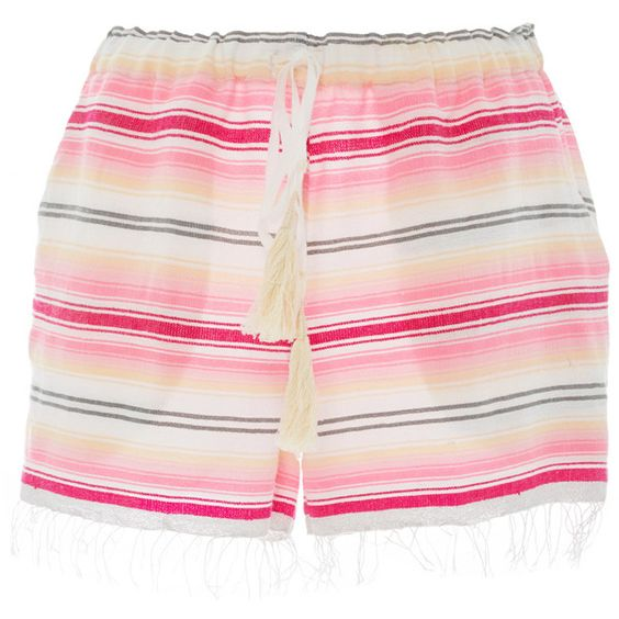 Lemlem Elsi Striped Shorts (2.600 ARS) ❤ liked on Polyvore featuring shorts, pink cut off shorts, lemlem, striped shorts, pink cotton shorts and stripe shorts