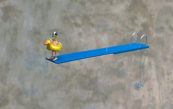 - la bouée canard - Mobile plongeur sculpté miniature : Autres art par…