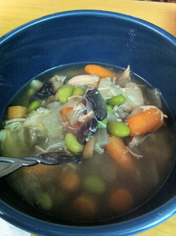 Chicken soup with mushrooms, carrots and edamame | eats | Pinterest ...