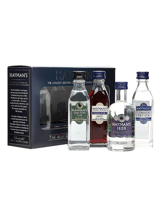 Hayman's Gin Gift Pack : Buy Online - The Whisky Exchange - A gift set showcasing the range of gin available from Hayman's, the descendants of Beefeater founder (and recipe maker) James Burrough. Mini bottles of their London Dry, Old Tom, Sloe and 1820 Gin ...