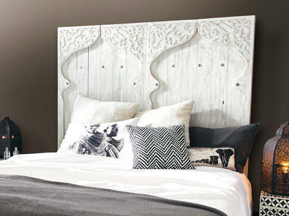T te de lit exotique pour une chambre d co ethnique chambre pinterest - Creer une tete de lit originale ...