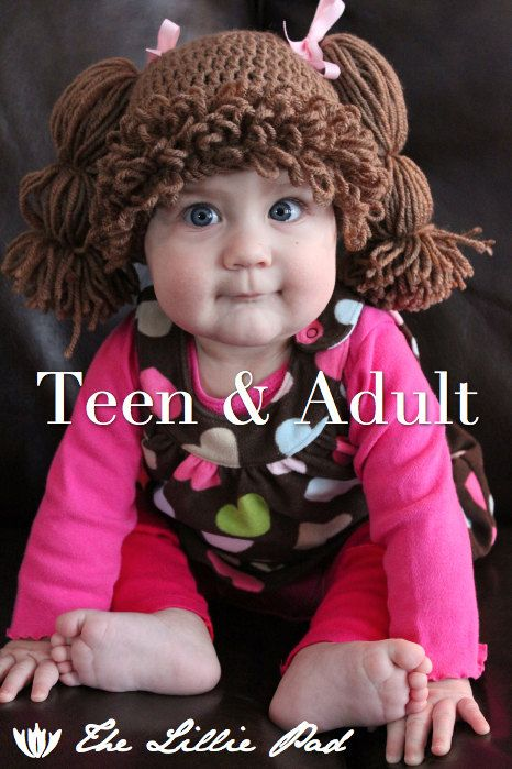 Cabbage Patch Kid Inspired Crochet Hat - Wig - ADULT Sizes - Doll Costume Wig...