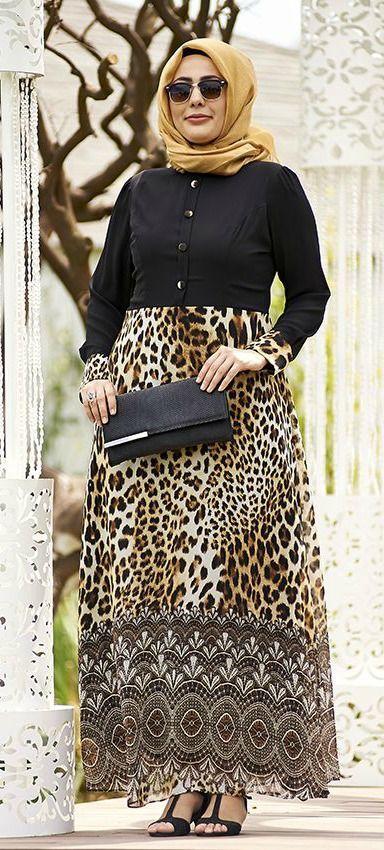 Nesrin Emniyetli Leopar Etekli Siyah Sifon Buyuk Beden Tesettur Elbise Tesettur Modasi 2020 Elbise Giyim Mutevazi Kiyafetler