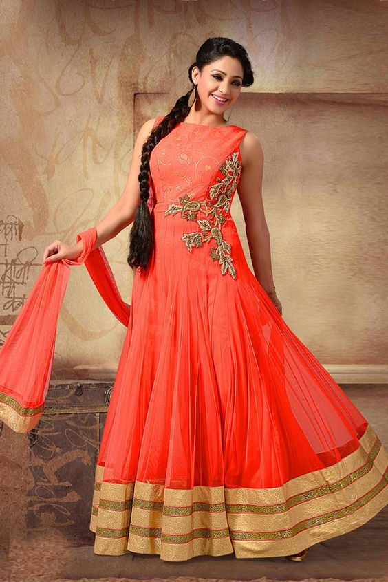 Orange Net Anarkali Readymade Suit Online Shopping-Z2593P1769-4